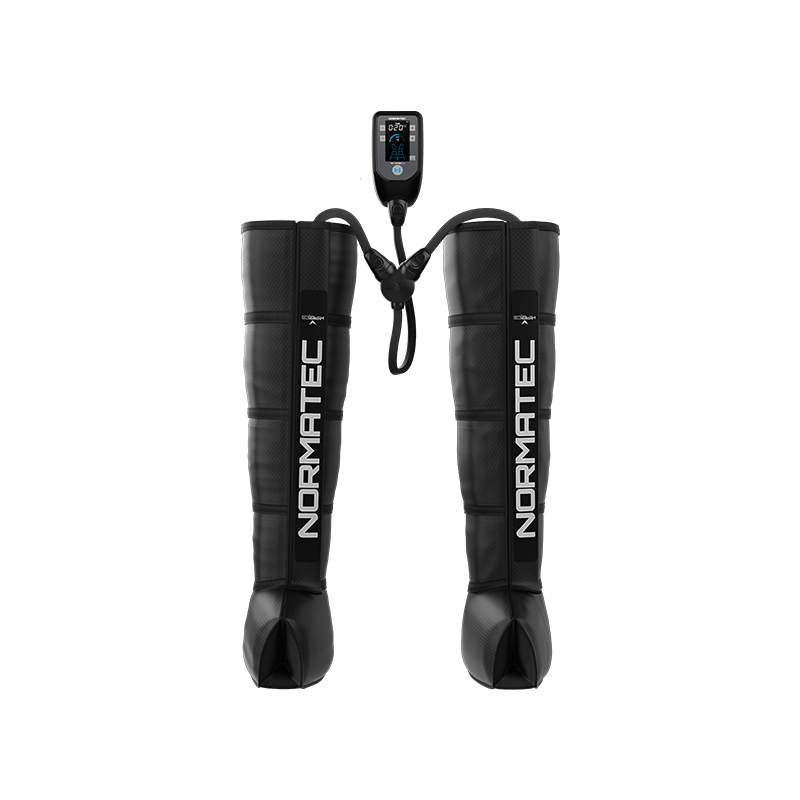Image of the Normatec Pulse 2.0 - Legs product with a sleeve for each leg connected to a control device